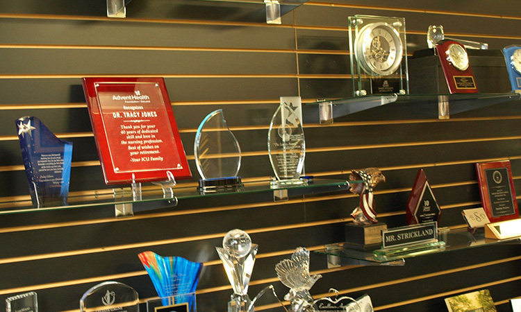 Multiple shelfs with different awards