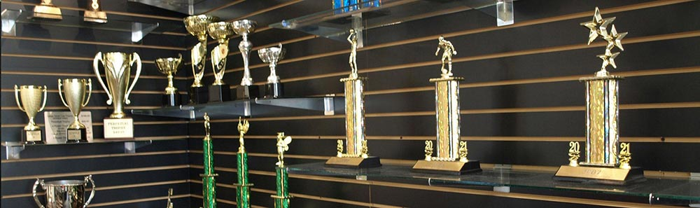 Shelf with different trophies
