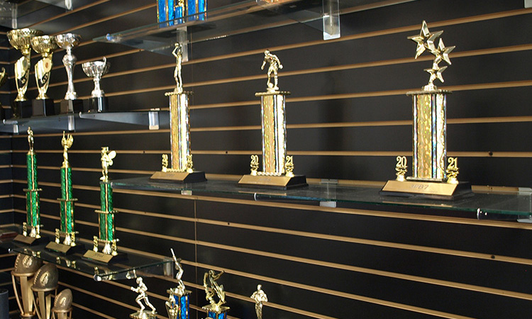Multpile shelfs with different trophies