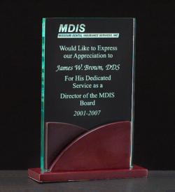 Acrylic Award on a Mahogany Finish Base