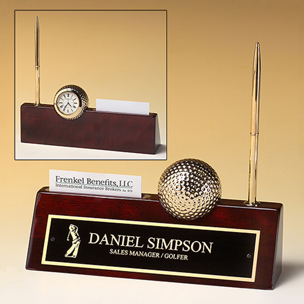 Golf-themed Rosewood Piano Finish Desk Accessory.
