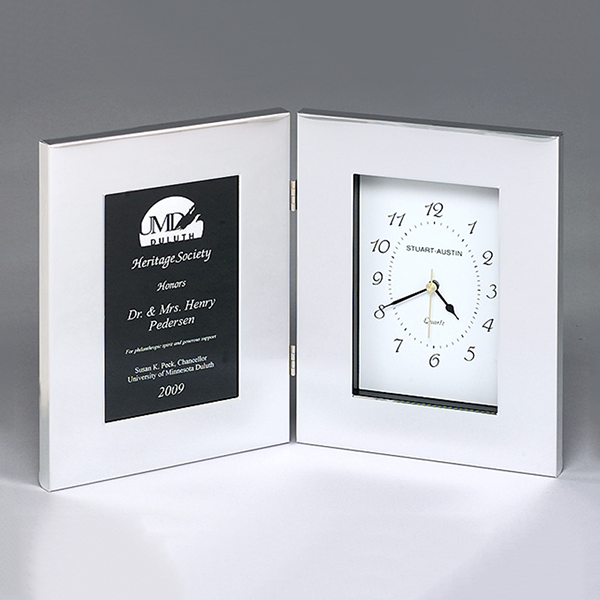Polished Silver Aluminum Clock with Large Engraving Plate