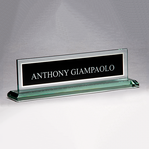 Glass Name Plate with Black Center