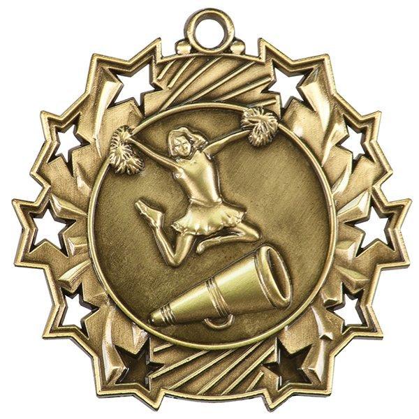 2 1/4 inch Cheerleading Ten Star Medal