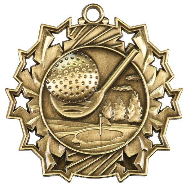 2 1/4 inch Golf Ten Star Medal