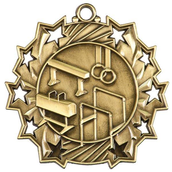 2 1/4 inch Gymnastics Ten Star Medal
