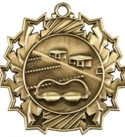 2 1/4 inch Swimming Ten Star Medal