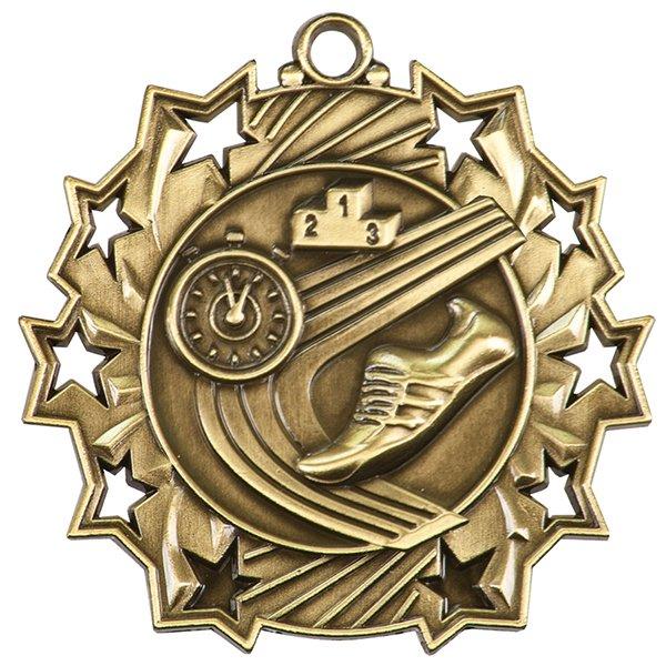 2 1/4 inch Track Ten Star Medal