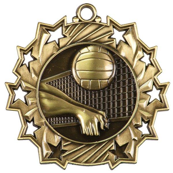 2 1/4 inch Volleyball Ten Star Medal