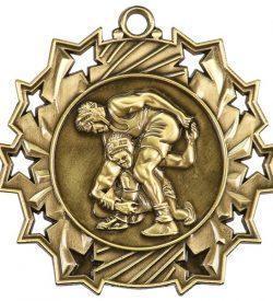 2 1/4 inch Wrestling Ten Star Medal