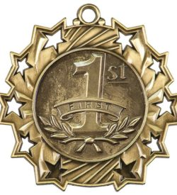 2 1/4 inch Gold 1st Place Ten Star Medal