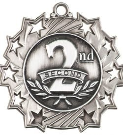 2 1/4 inch Silver 2nd Place Ten Star Medal