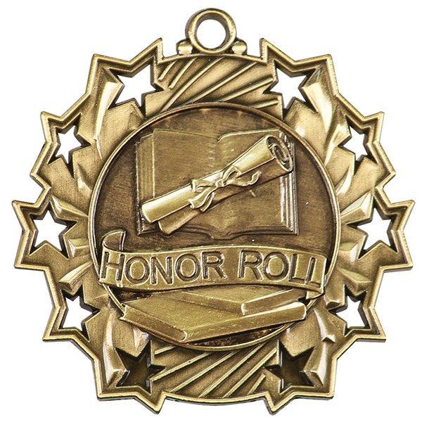 2 1/4 inch Honor Roll Ten Star Medal
