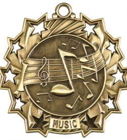 2 1/4 inch Music Ten Star Medal