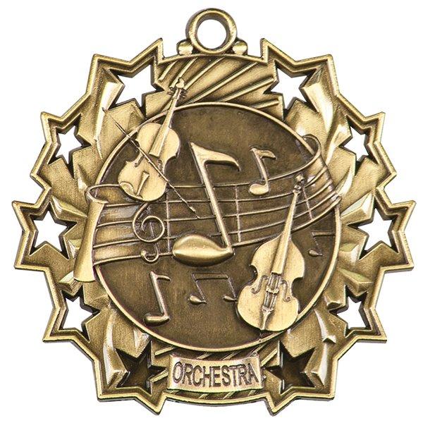 2 1/4 inch Orchestra Ten Star Medal