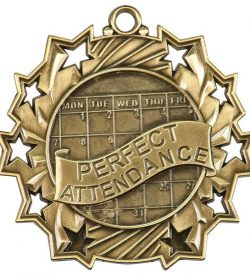 2 1/4 inch Perfect Attendance Ten Star Medal
