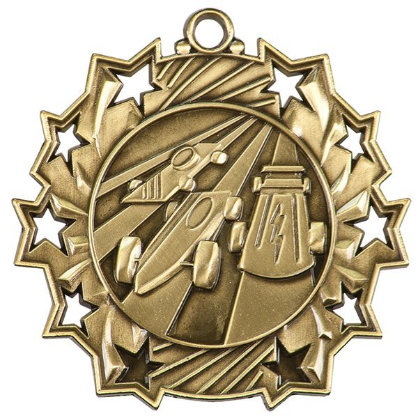 2 1/4 inch Pinewood Derby Ten Star Medal