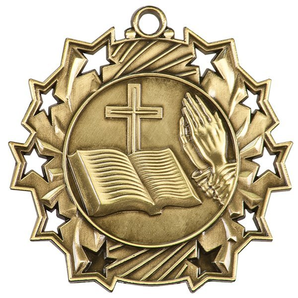 2 1/4 inch Religious Ten Star Medal