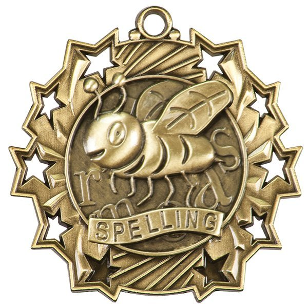 2 1/4 inch Spelling Ten Star Medal