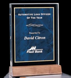 Acrylic Award with a Sapphire Marble Center.