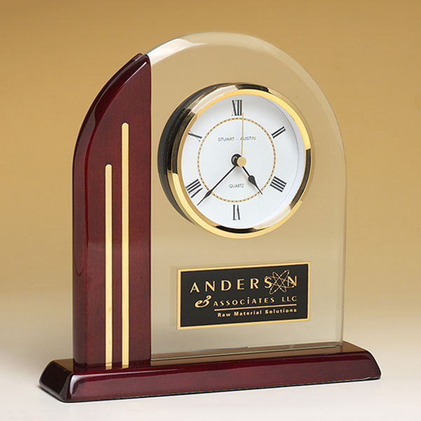 Arched Clock with Rosewood Piano Finish Post and Base
