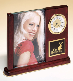 Rosewood Piano Finish Photo Desk Clock