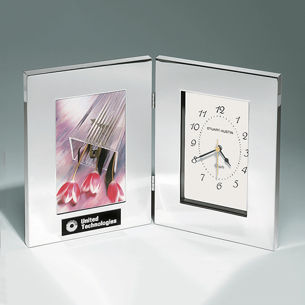Combination Clock and Photo Frame in Polished Silver Aluminum.