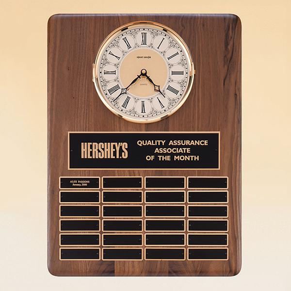 American Walnut Vertical Wall Clock / Perpetual Plaque