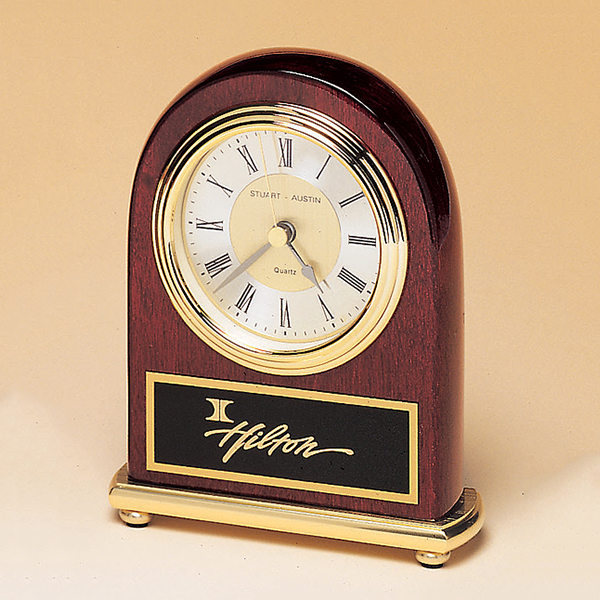 Rosewood Piano Finish Desk Clock on a Brass Base