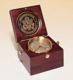 Captain's Clock Hand Rubbed Mahogany-finish Case.