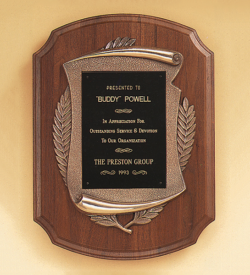 American Walnut Plaque with Antique Bronze Frame