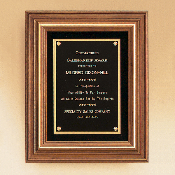 American Walnut Framed Plaque with Gold Trim