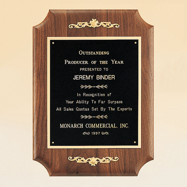 American Walnut Plaque with Decorative Accents