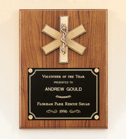 American Walnut Plaque with Emergency Medical Casting