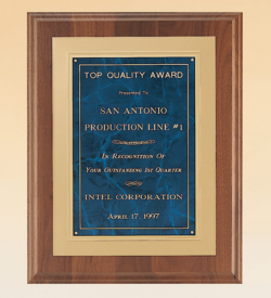American Walnut Plaque with Gold Embossed Frame