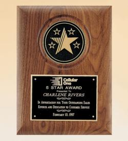 American Walnut Plaque with 5 Star Medallion
