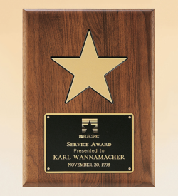 """American Walnut Plaque with 5"""" Gold Star"""