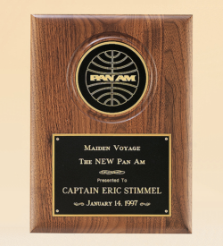 """American Walnut Plaque with 4"""" Engravable Disk"""