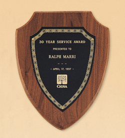 American Walnut Shield Plaque with a Black Brass Plate