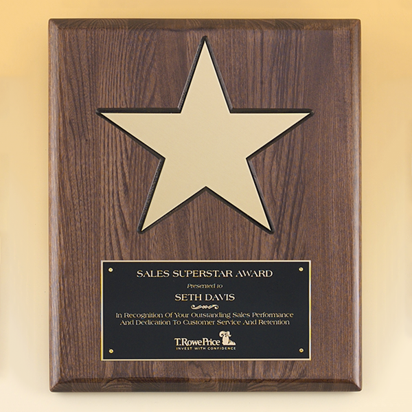 """Walnut Stained Piano Finish Plaque with 8"""" Gold Star"""