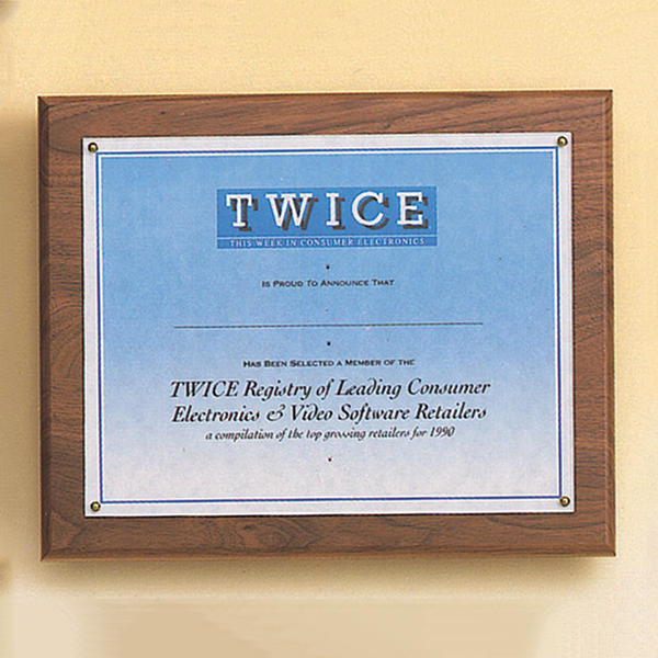 American Walnut Photo / Certificate Plaque