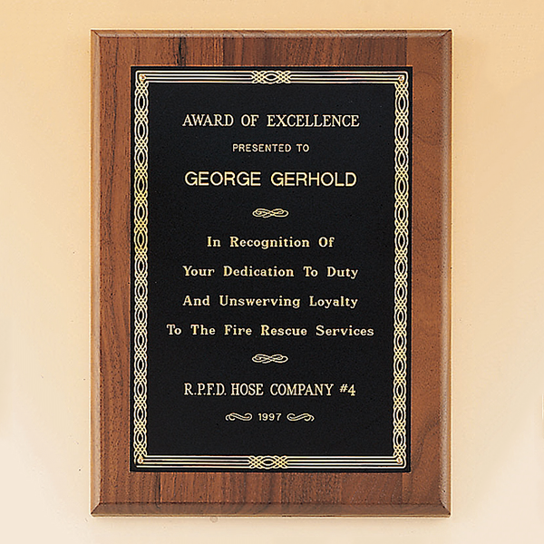 Walnut Plaque with Brass Engraving Plate