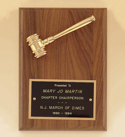American Walnut Plaque with Gold Tone Metal Gavel