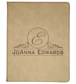 Light Brown Laserable Leatherette Portfolio with Notepad