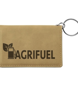 Light Brown Laserable Leatherette Keychain ID Holder