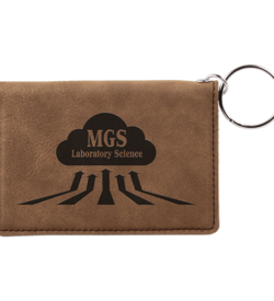 Dark Brown Laserable Leatherette Keychain ID Holder