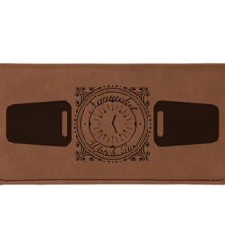 Dark Brown Laserable Leatherette Checkbook Cover