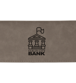 Gray Laserable Leatherette Checkbook Cover