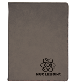 Gray Laserable Leatherette Portfolio with Notepad