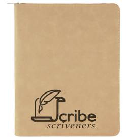 Light Brown with Zipper Laserable Leatherette Portfolio with Notepad